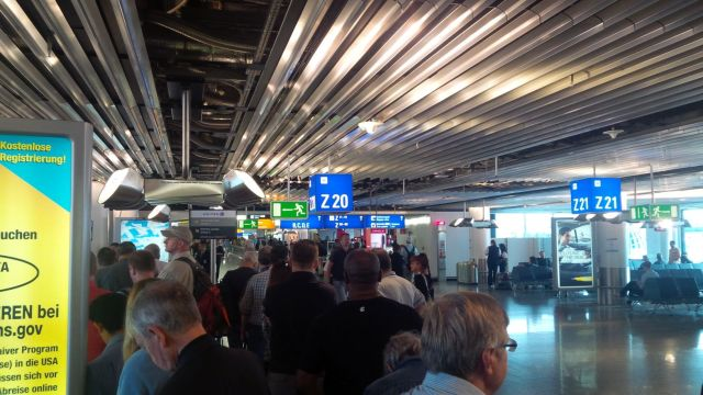 Frankfurt airport, awaiting to board UA988 for Dulles.