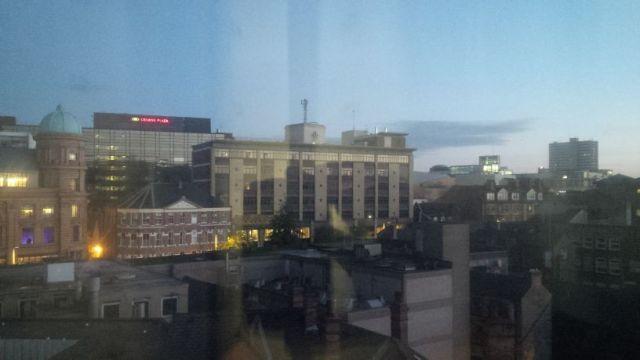 Nottingham awakes outside my hotel window on Wednesday.