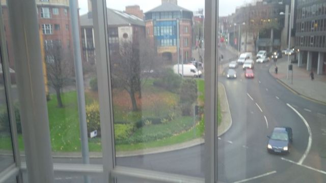 The circle outside hotel, viewed from elevator.