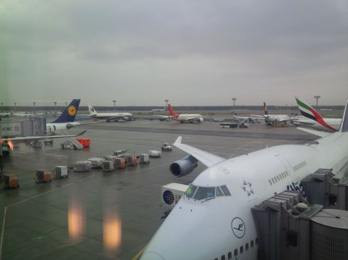 Having had several soft pretzels and a banana I'm ready for my next flight.  Lot's of colorful planes here in Frankfurt.
