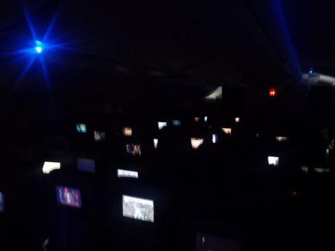 This is what numerous personal entertainment centers look like with all the plane lights dim.