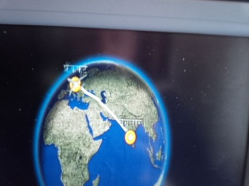 This looks cool. On the flight between Bangalore and Frankfurt everything is in  Hind, German and English.