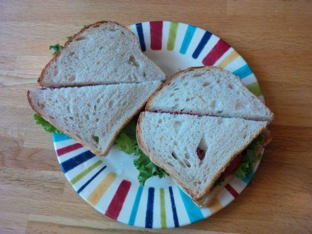 My tasty travel treat - Fakin' Bacon, Lettuce & Tomato sandwich.  I am a happy traveler.
