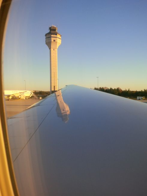 Scenes of taking off from Dulles.