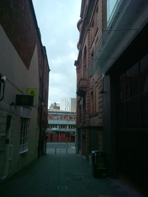 View down the alley in front of hotel.  England alleys have cool stuff to discover.