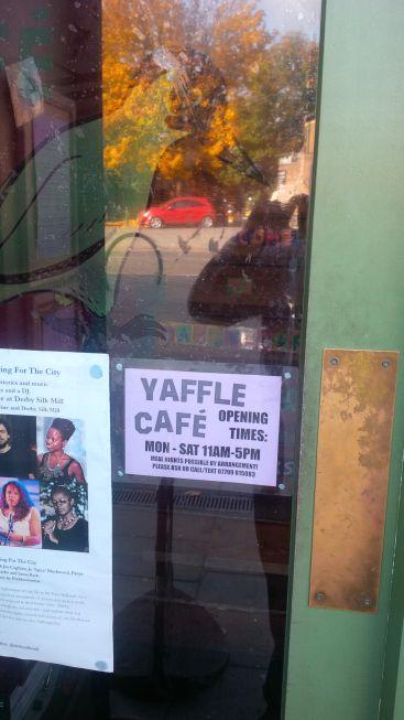 Derby, UK.  Tim takes me to a vegan cafe.