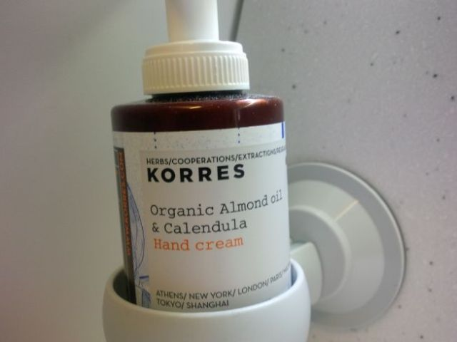 This is cool - organic vegan hand lotion in the Business Class lavatory.