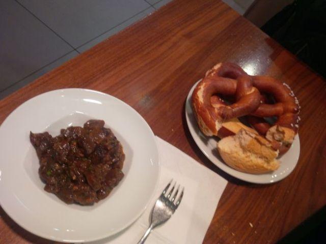 Pretzels and vegetarian tempeh stir fry.