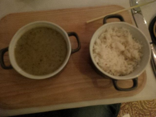 View of my green curry. I am so glad I'm heading to India for Indian food!