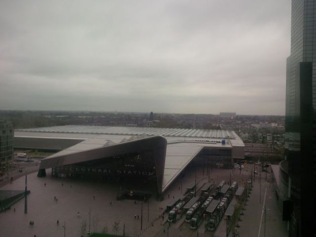 Monday - pics of Rotterdam.  this is a big transportation hub - trains, busses, taxis. (No cows).