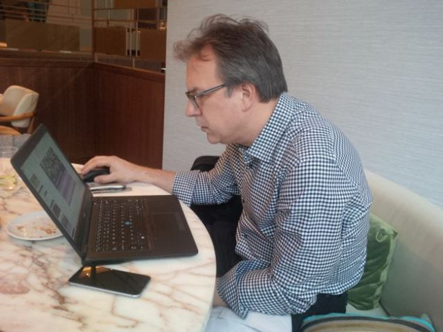 Went to meet Paul from UK team, to work on presentations for the conference we're at.
