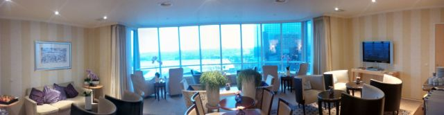 The hotel lounge. I discovered panorama setting on my camera :-)
