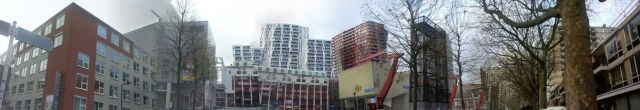 The buildings are quirky, even though they look like normal buildings disjointed by my panorama attempts.
