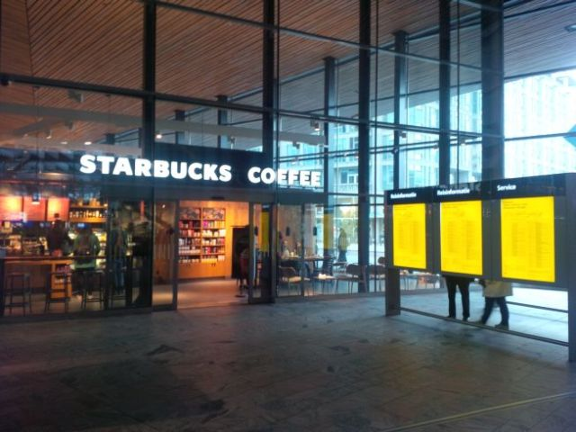 I found Starbucks. I had none. This is inside the transportation center.