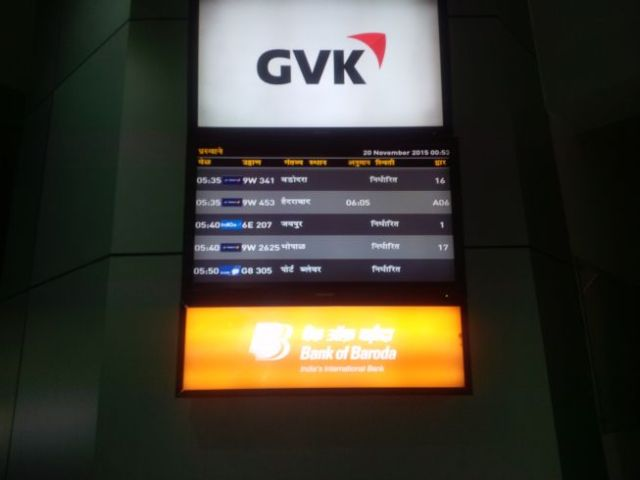 First time ever the departure board was 100% native language.  Accha!