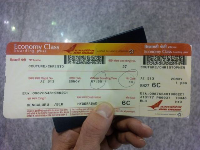 Air India, first time. Checked in. Now...