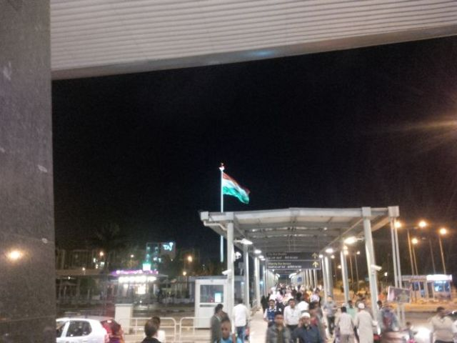 At Mohan's suggestion I took this pic. Very cool to see the India flag flying like it was that night.