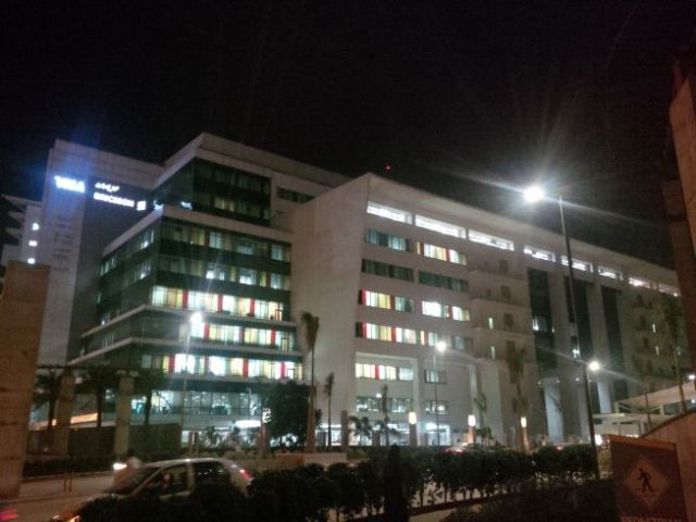 Rare evening pic of Ciber office building.