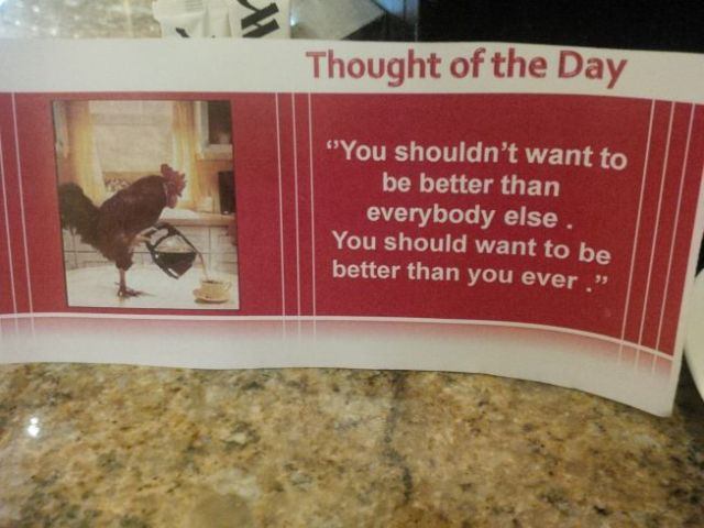 "My friend Amar shares his ""Thought of the Day"" at breakfast."